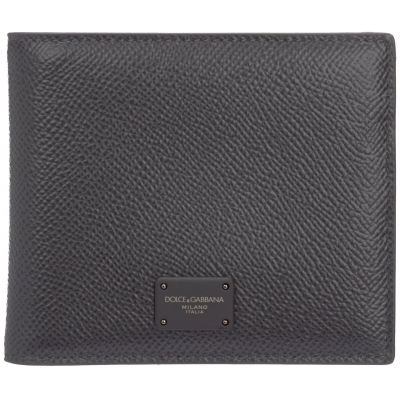 DOLCE & GABBANA DAUPHINE CALFSKIN BIFOLD WALLET WITH BRANDED PLATE