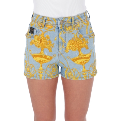 SHORT IN DENIM CON STAMPA BAROCCO
