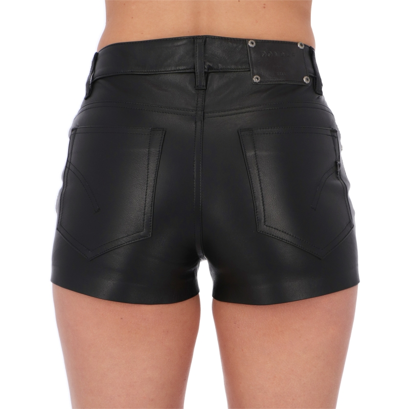 KLUM LAMBSKIN LEATHER SHORTS WITH DECORATIVE BUTTONS