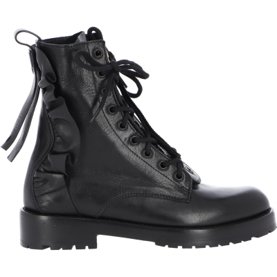 RED VALENTINO LEATHER COMBAT BOOTS
