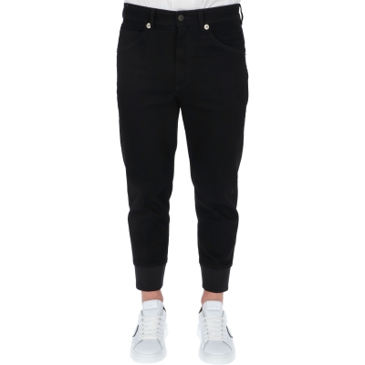 NEIL BARRETT CUFF COTON DENIM TROUSERS