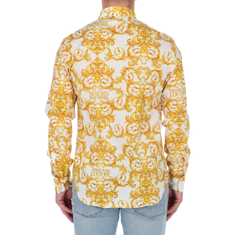 VERSACE JEANS COUTURE LOGO BAROQUE PRINT TWILL SHIRT