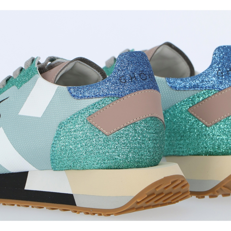 STAR FABRIC AND LEATHER SNEAKERS