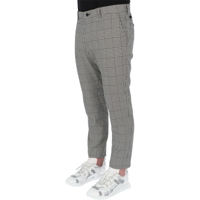 DOLCE & GABBANA COTON GLEN PLAID TROUSERS