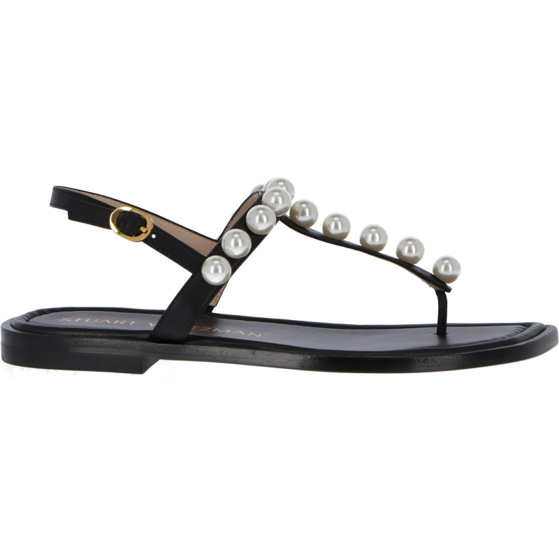 GOLDIE T-STRAP FLAT SANDAL WITH PEARLS