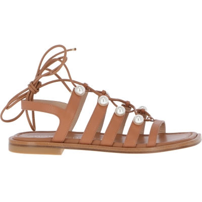 GOLDIE LACE-UP SANDALS WITH PEARLS