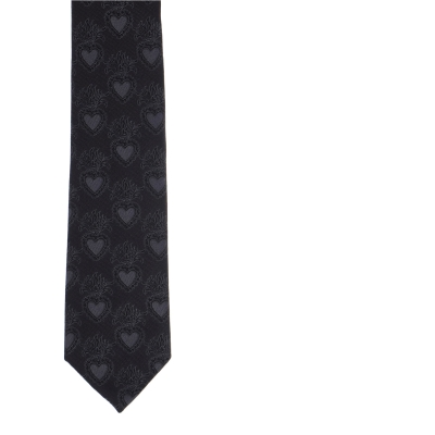 DOLCE & GABBANA SILK JAQUARD BLADE TIE WITH HEART DESING
