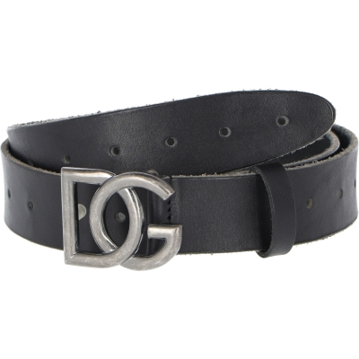 DOLCE & GABBANA SPLIT GRAIN LEATHER BELT WITH CROSSOVER DG LOGO