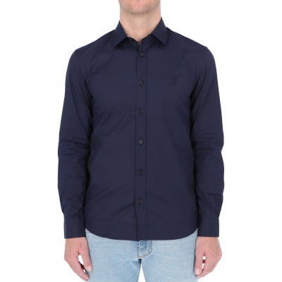 BURBERRY SLIM FIT MONOGRAM MOTIF STRECH COTTON POPLIN SHERWOOD SHIRT
