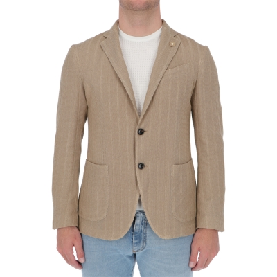 LARDINI JACKET IN A MIX OF COTTON CRÊPE AND MERCERISED COTTON - LIKNIT