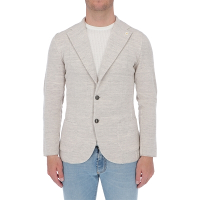 LARDINI TWO-BUTTON KNIT JACKET