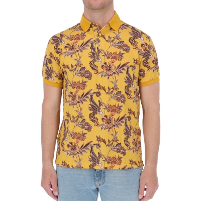 ETRO FLORAL PRINT COTTON POLO SHIRT