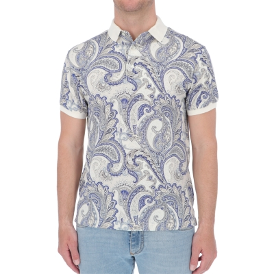ETRO FLORAL PAISLEY PRINT COTTON POLO SHIRT