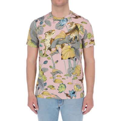 ETRO T-SHIRT WITH PRINTED TIGERS AND WATERLILIES