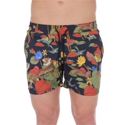 ETRO TIGER AND WATER LILY PRINT SWIM SHORTS