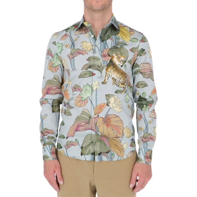ETRO SHIRT WITH WATER LILIES AND TIGERS
