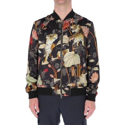 ETRO FLORAL AND TIGER PRINT BOMBER JACKET