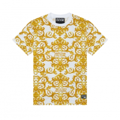 T-SHIRT CON STAMPA LOGO BAROQUE VERSACE JEANS COUTURE