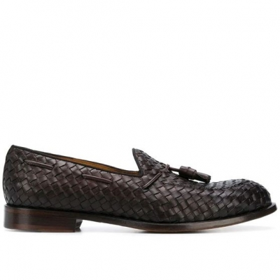 DOUCAL'S WOVEN CALFSKIN LOAFERS