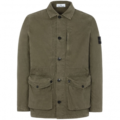 STONE ISLAND T.CO 'OLD' BRUSHER COTTON CANVAS JACKET