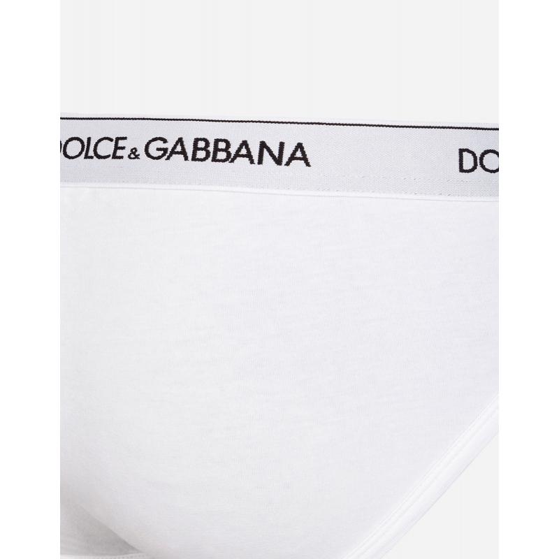 DOLCE & GABBANA BI-PACK MID BRIEFS IN STRECH COTTON