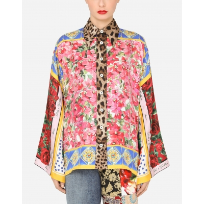 TWILL SILK SHIRT WITH FOULARD PRINT ALLOVER