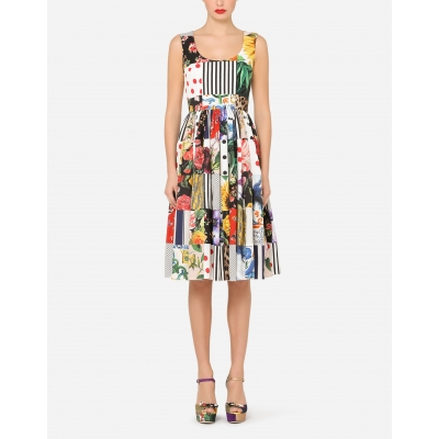 PATCHWORK COTTON POPELINE DRESS