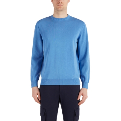 ORGANIC COTTON CREW NECK WITH EMBROIDERED SHARK