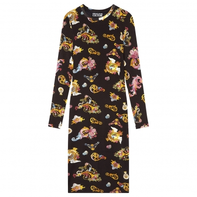 LONG SLEEVES DRESS WITH ROCOCO PRINT ALLOVER