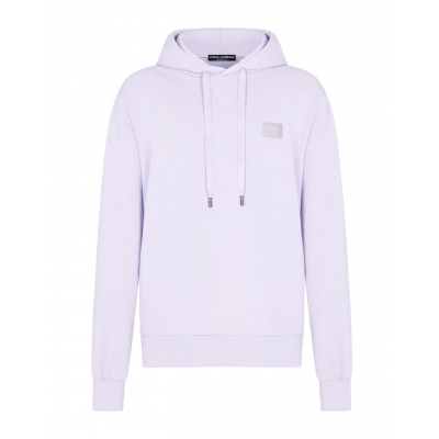 JERSEY HOODIE WITH BRANDED TAG