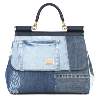 BORSA SICILY IN DENIM PATCHWORK E PELLE