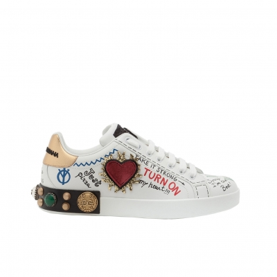 PRINTED CALFSKIN NAPPA PORTOFINO SNEAKERS WITH PATCH AND EMBROIDERY