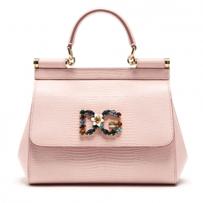 DAUPHINE SICILY LEATHER BAG WITH CRYSTALS DG LOGO