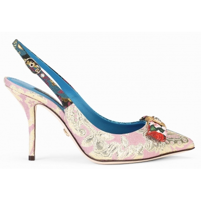 CARDINALE SLINGBACK IN PATCHWORK FABRIC
