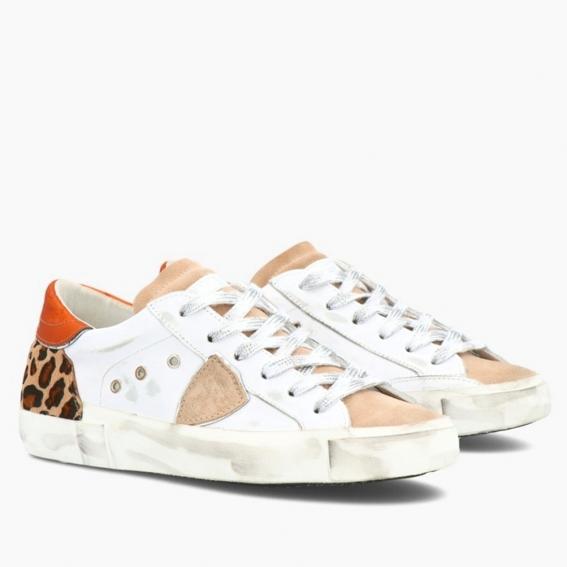 PHILIPPE MODEL PRSX CALFSKIN AND LEO PRINT PONY HAIR LEATHER SNEAKERS