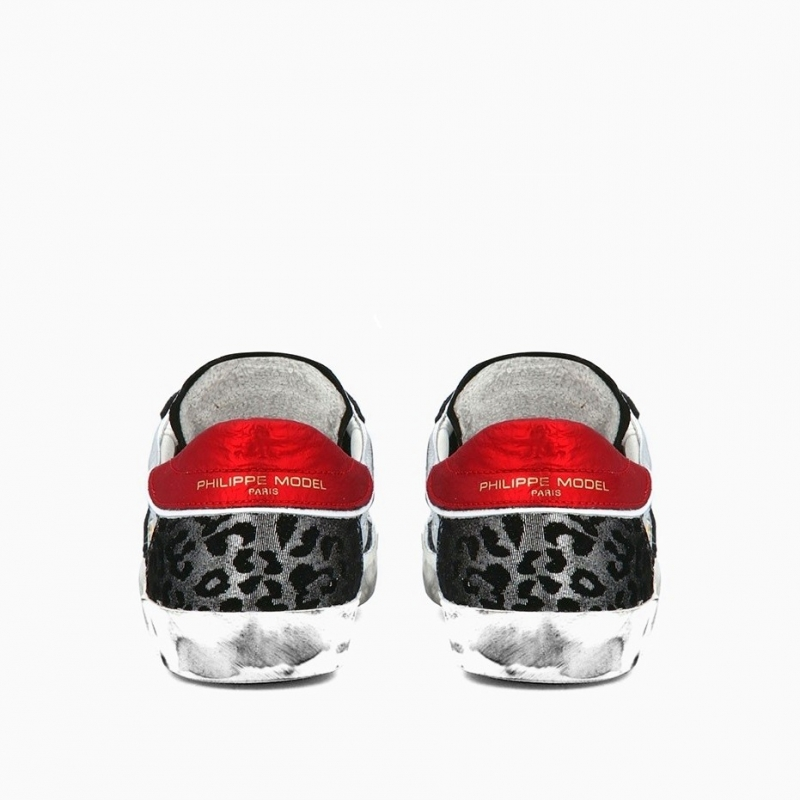 PHILIPPE MODEL PRSX SILVER LEATHER SNEAKERS