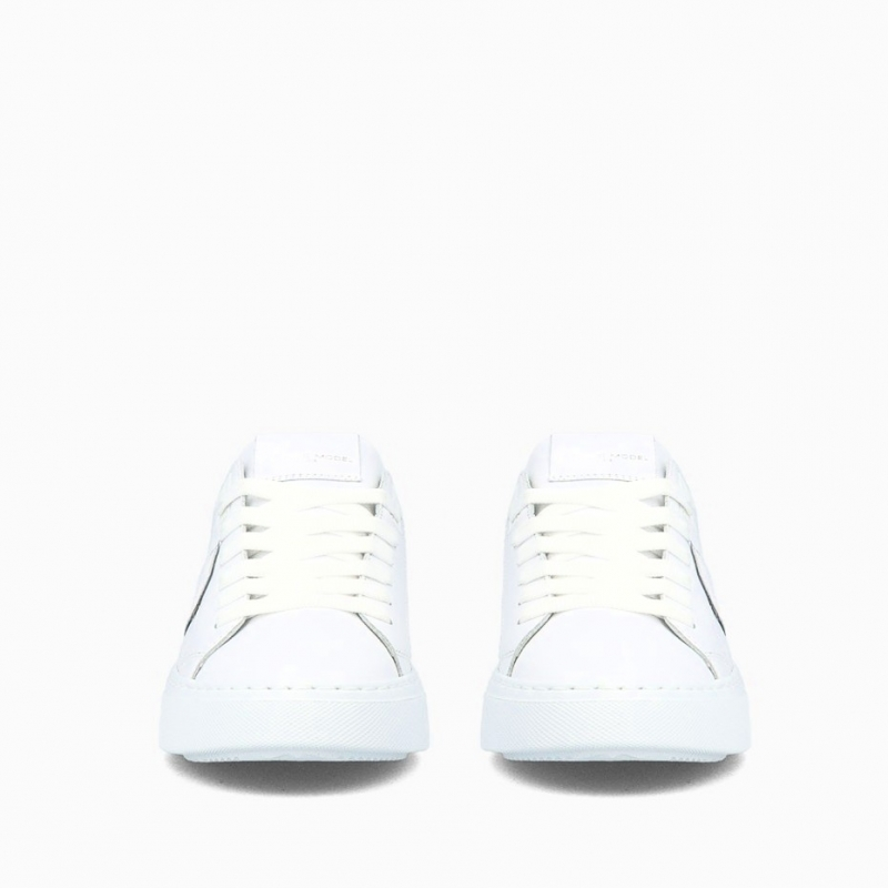 PHILIPPE MODEL WHITE TEMPLE CALFSKIN LEATHER SNEAKERS