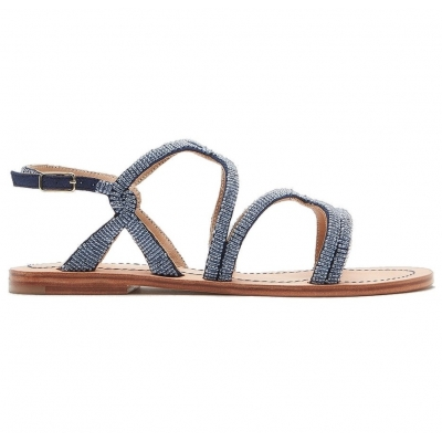 CAPRI BEADS EMBROIDED LEATHER SANDALS