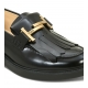 TOD'S BRUSHED CALFSKIN LEATHER LOAFER WITH DOUBLE T LOGO ON FRONT