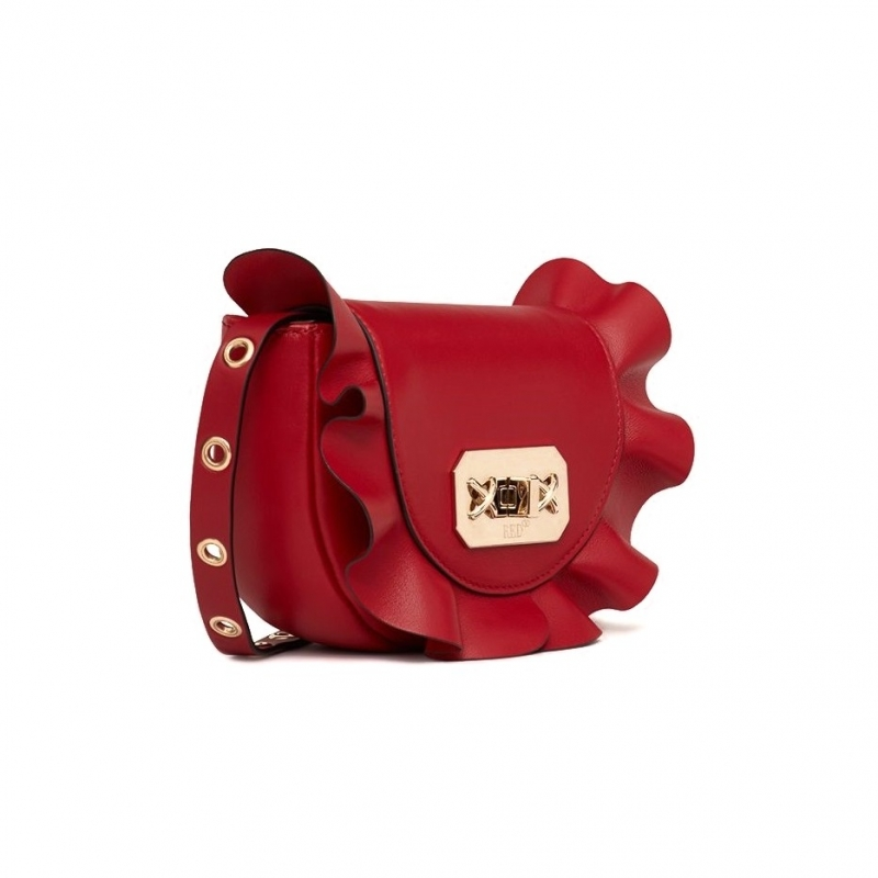 RED VALENTINO RED BELT BAG WITH ROUCHES