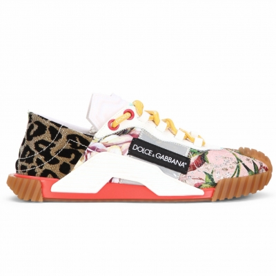 PATCHWORK FABRIC AND LEATHER NS1 SNEAKERS