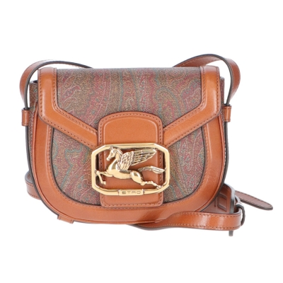 ETRO LEATHER AND PAISLEY COATED CANVAS CROSSBODY BAG