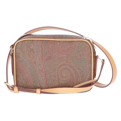ETRO LEATHER AND COATED CANVAS CROSSBODY BAG