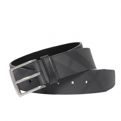 LONDON CHECK AND LEATHER BELT