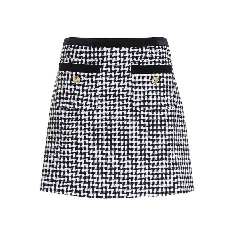 VICHY CHECKED COTTON SKIRT WITH DECORATIVE BUTTONS