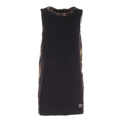 SHORT DRESS WITH BAROQUE PRINTED INSERTS