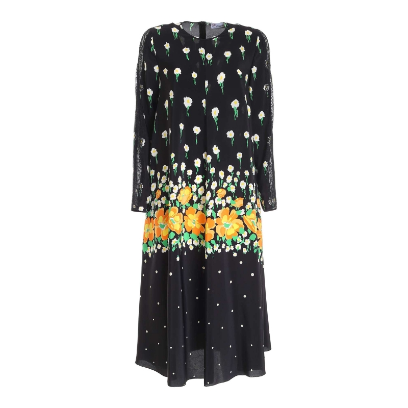 BLACK SILK FLOWER PRINTED DRESS WITH LACE INSERTS