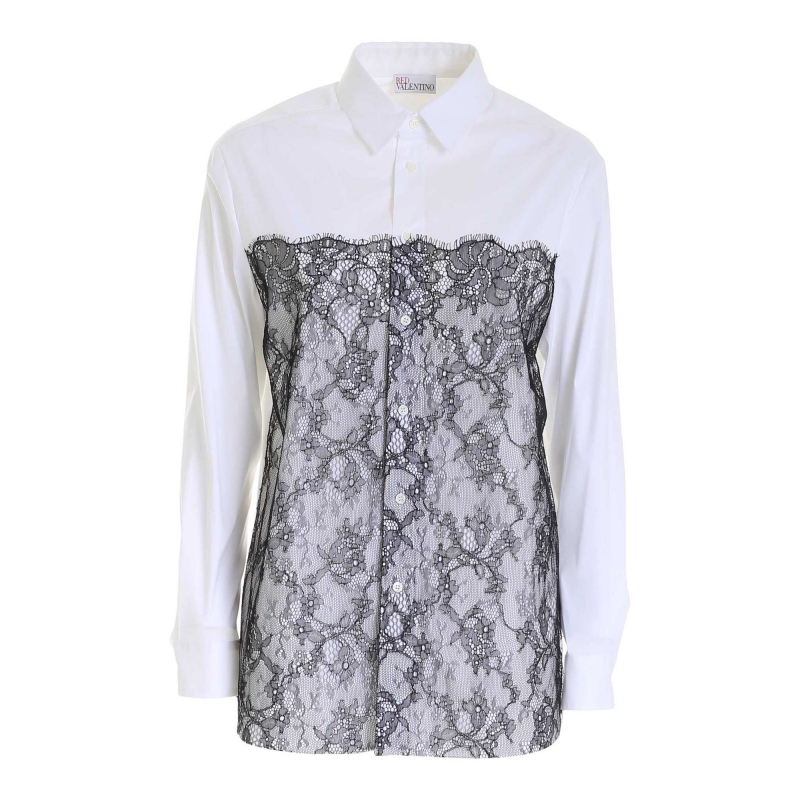 COTTON POPELINE SHIRT WITH LACE INSERTS