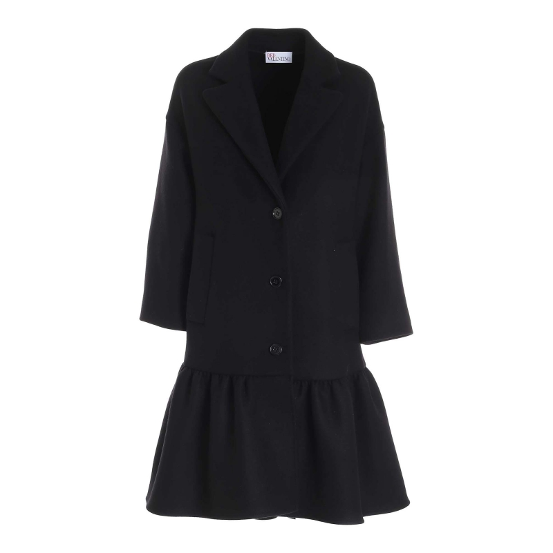 WOOL COAT WITH MAXI ROUCHES