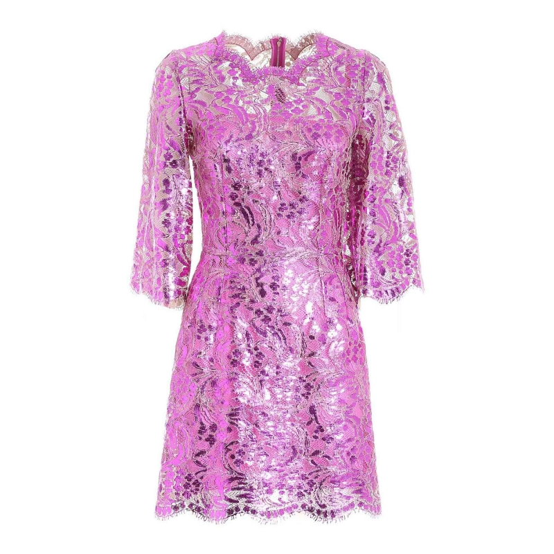 SHORT LAMINATED LACE DRESS
